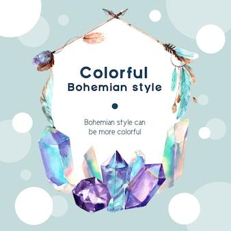 Diseño de corona bohemia con cristal, flecha ilustración acuarela,