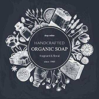 Diseño de corona de jabón esbozado a mano en pizarra materiales aromáticos para cosméticos jabón de perfumería