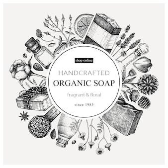 Diseño de corona de jabón orgánico en estilo vintage temp de materiales aromáticos esbozados a mano