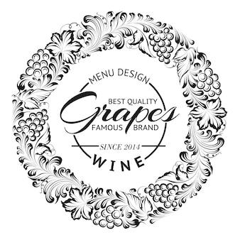 Diseño de corona o marco de uvas para emblema de vino.