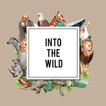 Diseño de corona de zoológico con águila, gorila, jirafa, rinoceronte, ilustración acuarela