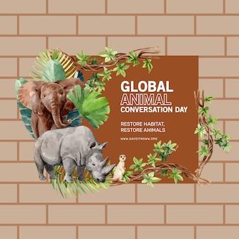 Diseño de corona de zoológico con elefante, suricata, rinoceronte, ilustración acuarela