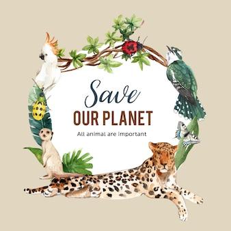 Diseño de corona de zoológico con pájaro, tigre, ilustración de acuarela de suricata,