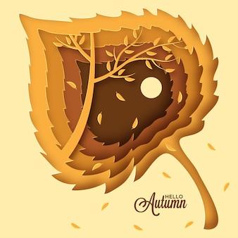 Diseño de corte de papel de hoja de otoño de arce para la celebración de la temporada de otoño con hojas de otoño