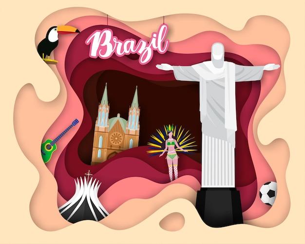Diseño de corte de papel de turismo de brasil.