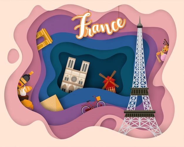 Diseño de corte de papel de turismo de francia.