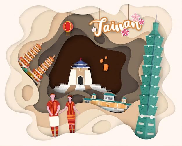 Diseño de corte de papel de turista viajes taiwán.