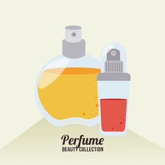 Diseño de cosméticos sobre ilustración beige.