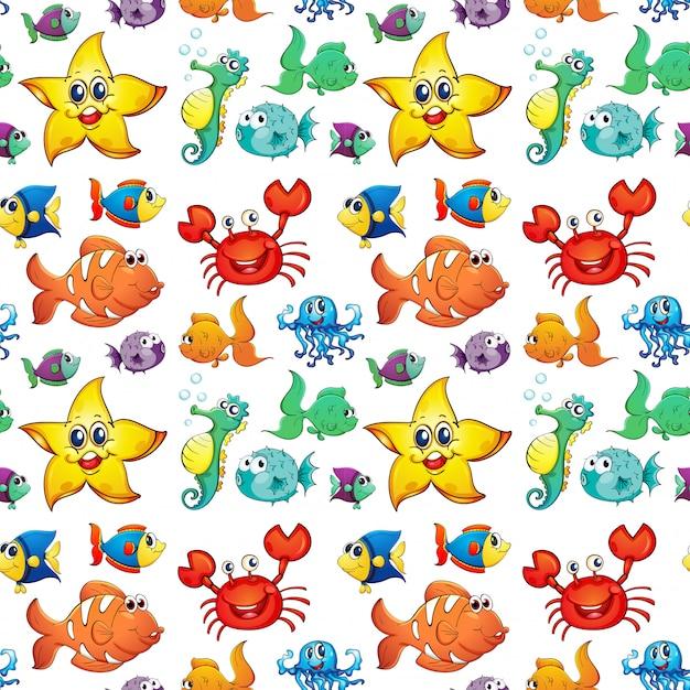 Diseño sin costuras con criaturas marinas.