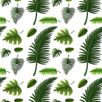 Diseño sin costuras con muchas hojas verdes