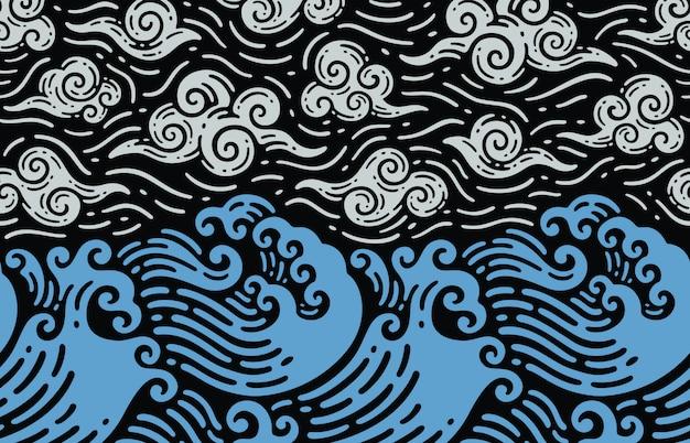 Diseño sin costuras de olas y mar en doodle vintage