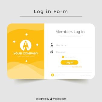 Diseño creativo amarillo de formulario de iniciar sesión