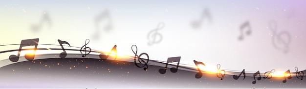 Diseño creativo de la bandera con las ondas abstractas, notas musicales y efecto de la llamarada de la lente de oro.