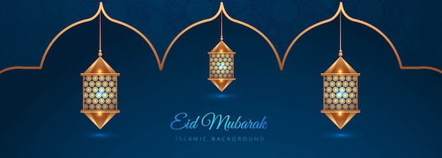 Diseño creativo de banner islámico eid mubarak