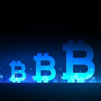Diseño creativo de bitcoins con efecto de luz azul