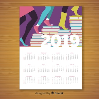 Diseño creativo de calendario de 2019