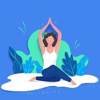 Diseño creativo de cartel o banner con ilustración de mujer haciendo yoga.