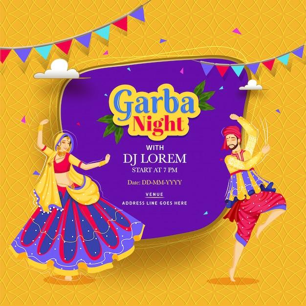 Diseño creativo de carteles o invitaciones de garba night con pareja bailando en bakground abstracto y detalles de eventos.