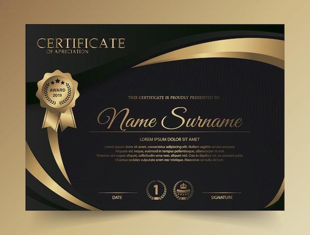 Diseño creativo de certificado de diploma oscuro con símbolo de premio
