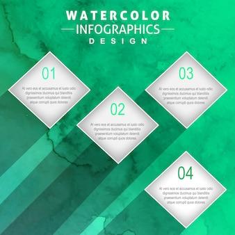 Diseño creativo de infografías de acuarela