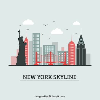 Diseño creativo de la skyline de nueva york
