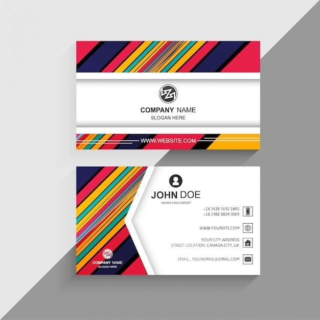 Diseño creativo de líneas coloridas abstractas tarjetas de visita