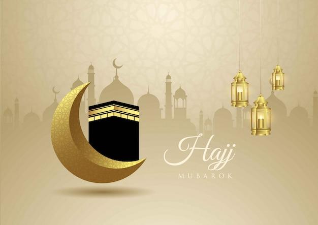 Diseño creativo de eid mubarak con decoración de mezquita, luna y linterna.