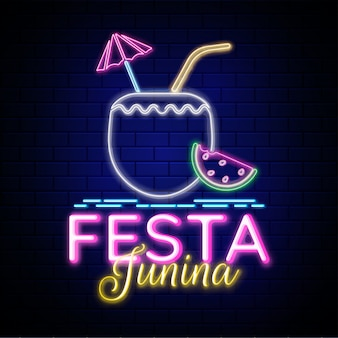 Diseño creativo para fiesta festa junina, efecto neón.