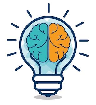 Diseño creativo de idea de cerebro de dibujos animados