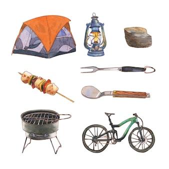 Diseño creativo de ilustración de acuarela para acampar para uso decorativo.