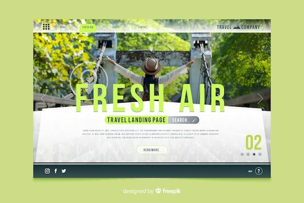 Diseño creativo para la página de inicio itinerante