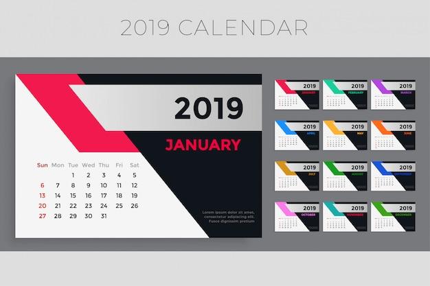 Diseño creativo de la plantilla del calendario 2019