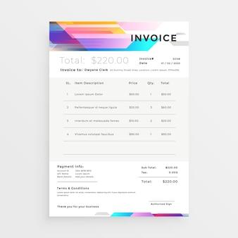 Diseño creativo de la plantilla de factura colorida