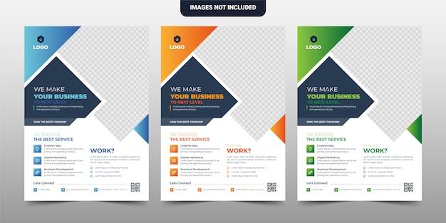 Diseño creativo de la plantilla del folleto del aviador corporativo y comercial