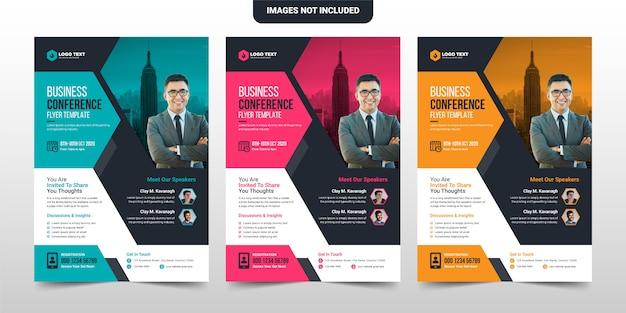 Diseño creativo de plantilla de folleto de volante de conferencia corporativa y empresarial