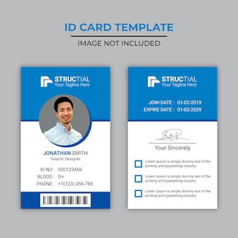 Diseño creativo de tarjeta de identificación azul