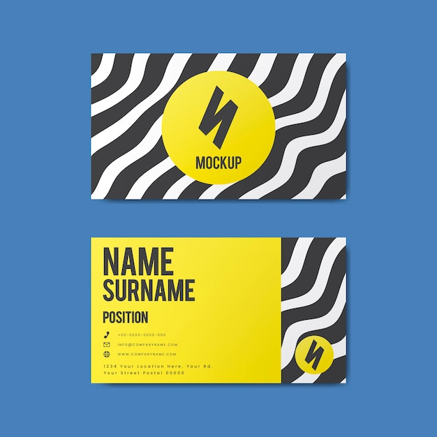 Diseño creativo de tarjetas de visita de estilo memphis en colores llamativos.