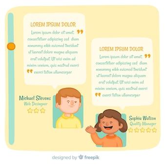 Diseño creativo de testimonial con concepto de burbujas de texto