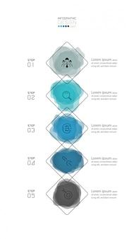 Diseño cuadrado abstracto 5 pasos. ilustración de infografía.