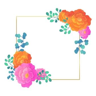 Diseño cuadrado de boda marco floral