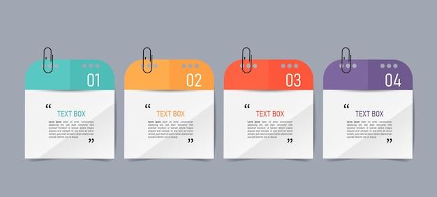 Diseño de cuadro de texto con infografía de notas