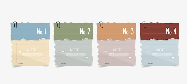 Diseño de cuadro de texto con infografía de papeles de nota.
