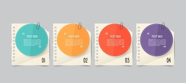 Diseño de cuadro de texto con maqueta de papeles de nota.