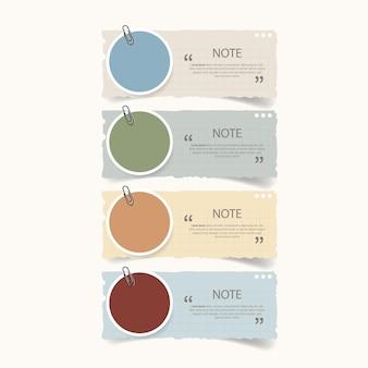 Diseño de cuadro de texto con maquetas de papel de notas.