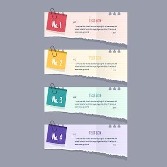 Diseño de cuadro de texto con maquetas de papeles de nota.