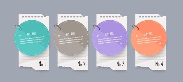 Diseño de cuadro de texto con papeles de notas.