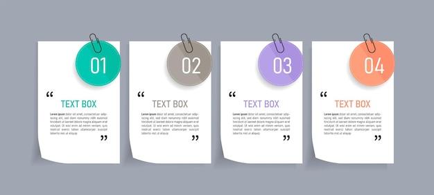 Diseño de cuadro de texto con plantilla de papeles de nota