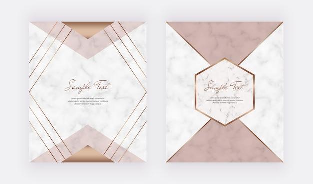 Diseño de cubierta geométrica con formas triangulares rosadas y desnudas y líneas doradas en la textura de mármol.