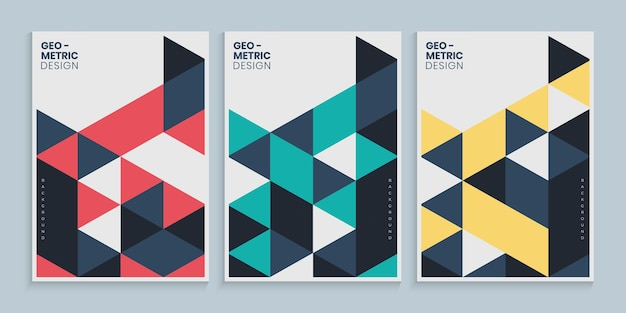 Diseño de cubierta geométrica mínima con triángulos de colores.