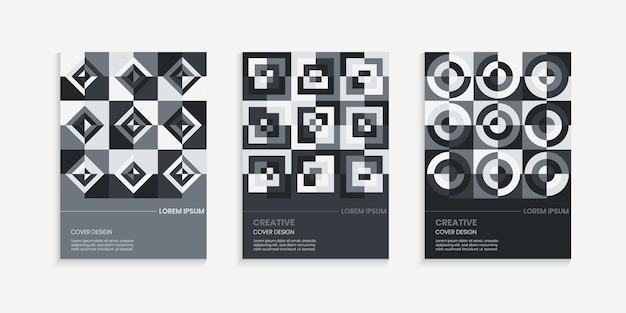Diseño de cubierta geométrica retro en degradado gris